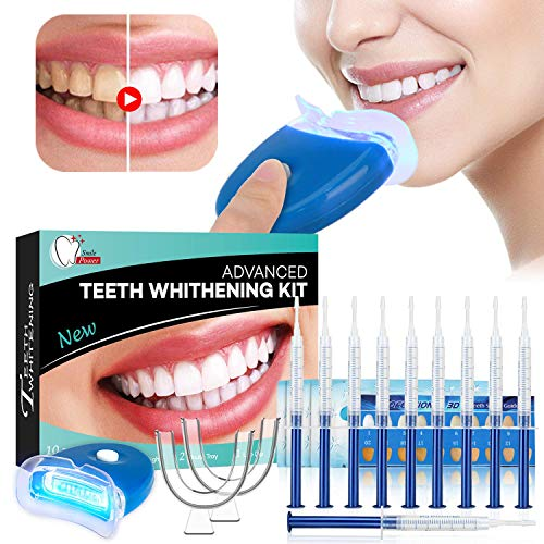 Teeth Whitening Kit Sbiancamento denti - ISUDA Gel Sbiancante Denti Professionale, 10x Sbiancamento dei denti,10x Pulizia Profonda Teeth Wipe,2x Kit vassoi per Luce a led