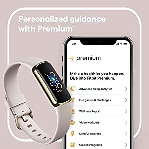 Fitbit Luxe Fitness and Wellness Tracker with Stress Management, Sleep Tracking and 24/7 Heart Rate, One Size S L Bands Included, Lunar White/Soft Gold Stainless Steel, 1 Count