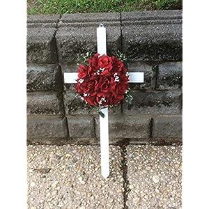 cemetery cross, silk red roses, memorial cross silk flower arrangements