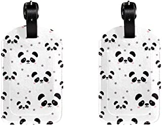 Cute PandaLeather Luggage Tags Suitcase Labels Bag Travel ID Bag Tag, 1 Pcs