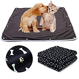 Teamoy Waterproof Dog Blankets(Pack of 2), Reusable Pee Pads for Dogs with Non-Slip Design Fit for Floor, Bed, Sofa and More