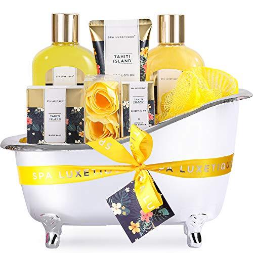 Spa Gifts Set, Spa Luxetique Spa Gift Baskets for Women, 8pcs Bath Set Includes Body Lotion, Bubble Bath, Bath Salt, Essential Oil
