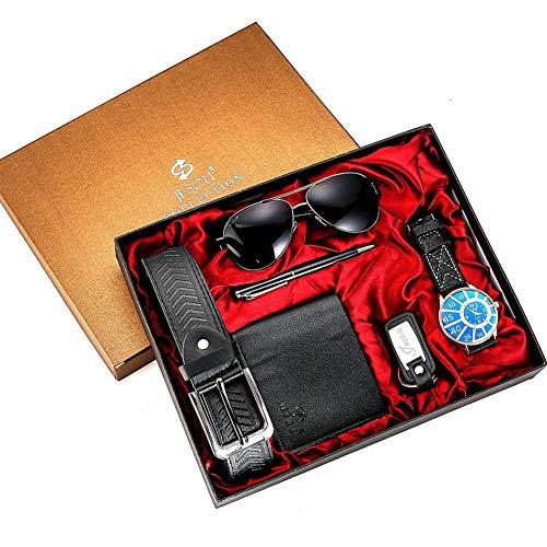 Fashion Watch Luxury Gifts Set para Hombres Gafas de Sol Top Calidad Cinturon Reloj de Pulsera Boligrafo Plegable Pluma de Ballpoin - 6pcs Set,A