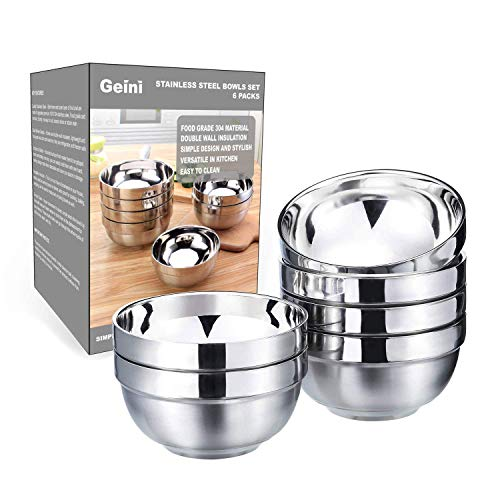 Geini Premium 304 Stainless Steel Bowls Set, Double Walled Insulated, Nesting Serving Bowls without Lids in Kitchen for Soup, Rice, Ice Cream, Kids Snacks, 6 Pack, 13oz Capacity