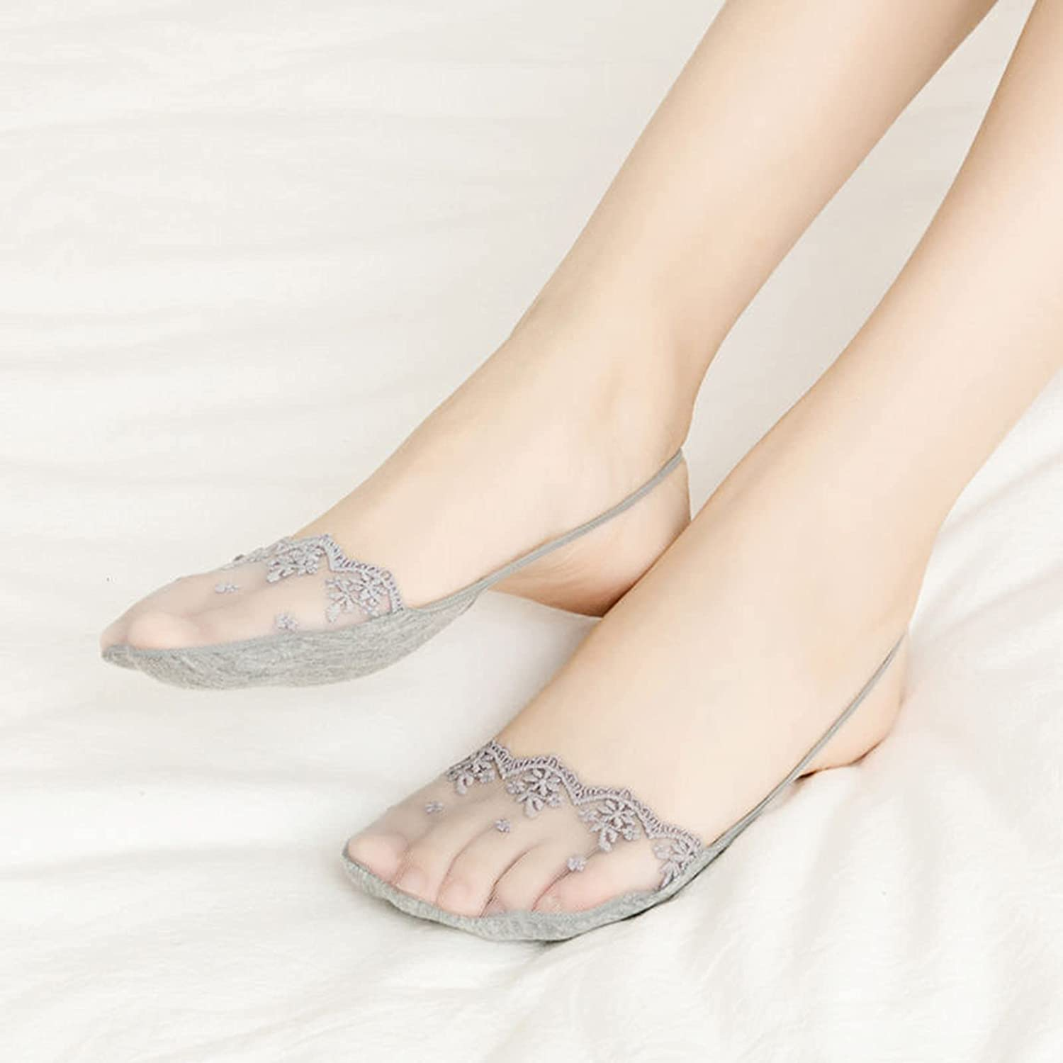 GYJZZW Lace Invisible Sling Socks,Half Ship Socks with Sling Back,Cool Breathable No Show Padded Half Socks