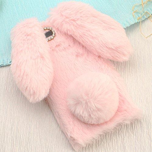Sony XZs/XZ Art Case, Handmade Fluffy Villi Rabbit Baby Wool Cute Ball Tail Winter Warm Soft Funda, TAITOU Beautiful Special Big Ear Light Slim Protection Phone Case For Sony Xperia XZs/XZ Pin