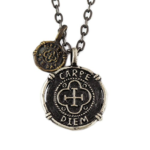 Silver And Brass Carpe Diem Coin Necklace - Seize the Day Pendant