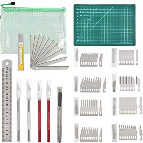 98Pcs Exacto Knife Upgrade Precision Carving Craft Blade Knife - 4pcs Craft Hobby Knife with 80 Exacto Blades,Utility Knife/Blades,PVC Cutting Board,Steel Ruler for Art Cutting Scrapbooking Stencil