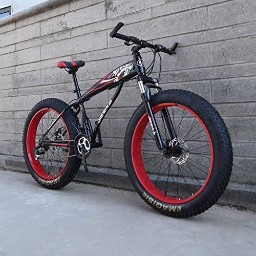 YANGHAO-Bicicleta de montaña para adultos- Bicicleta de montaña de 24 '/ 26', bicicleta de nieve de la rueda grande, freno de doble disco de 24 velocidades, Fuerte bifurcación frontal de amortiguador,