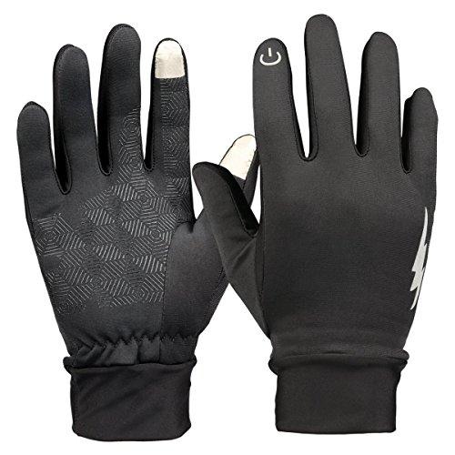 Touchscreen-Handschuhe, HiCool Touch Gloves Smartphone Handschuhe für Radfahren, Motorradfahren, Wandern und andere Outdoor-Aktivitäten (Schwarz, L)