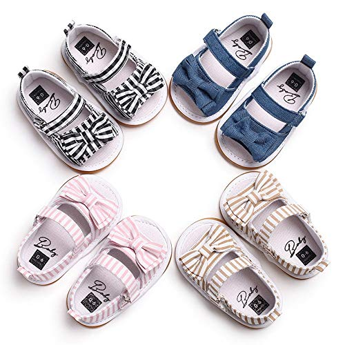 Baby Meisjes Sandals Peuter Newborn Infant Bow Knot Stripe Sandals Casual Soft Anti-slip zool van de baby Walking schoenen Platte schoenen Slipper Schoenen (Color : Black, Size : L)