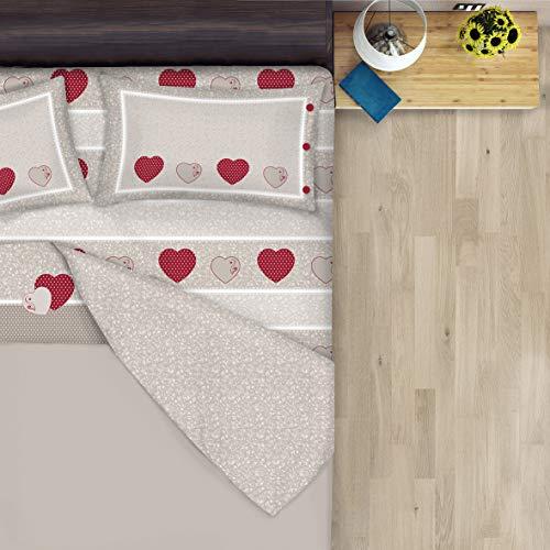 Completo lunzuola Flanella 100% Cotone - Disegno Cuori Fiori Shabby (Rosso, Matrimoniale)