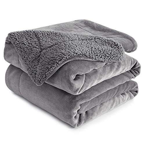 Wemore Sherpa Fleece Throw Blanket, Double-Sided Microfiber Super Soft Reversible Bed and Couch Blanket, Warm and Lightweight Home Decoration Blanket, Grey for Queen Size 90 x 90 Inches