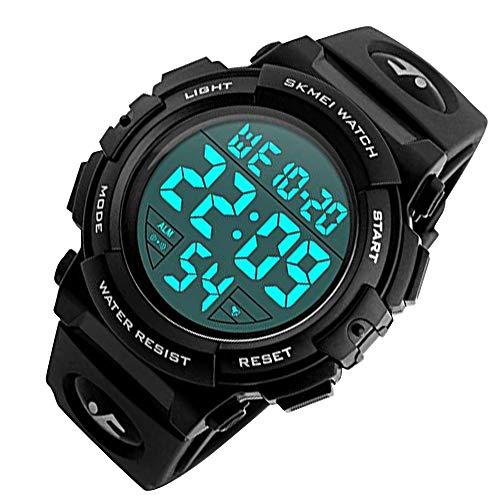 【 The earth crew 】 文字が見やすい スポーツデジタル腕時計 アラーム 防水 ストップウオッチ 機能付き メンズ レディース 日本語説明書付き