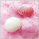Organizador de exhibición de anillo de la bandeja de la concha de la joyería con el regalo de aniversario de San Valentín de la inauguración de la casa (rosa + blanco, 2 piezas)