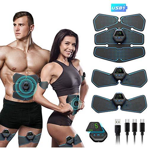 ZMIN EMS Bauchmuskeltrainer, Muskelstimulator Trainingsgerät mit 10 Modi & 20 Intensitäte, Hilfe beim Abnehmen, Muskelaufbau und Figurformung