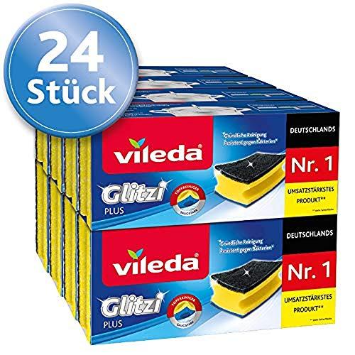 Vileda Glitzi Plus Topfreiniger, 24er-Pack (8 x 3 Stück), mit Antibac-Effekt gegen Bakterien, saugstark