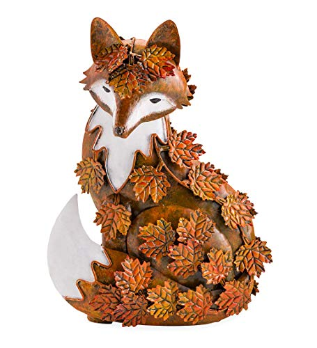 Wind & Weather 11' Tall Handcrafted Indoor/Outdoor Fox Sculpture Made from New and Reclaimed Metal by Balinese Artisans and Draped in Colorful Metal Fall Leaves