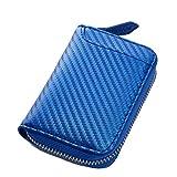 [STREAM] 本革 コインケース 小さい財布 ボックス型 メンズ レディース 6ポケット (カーボンブルー)