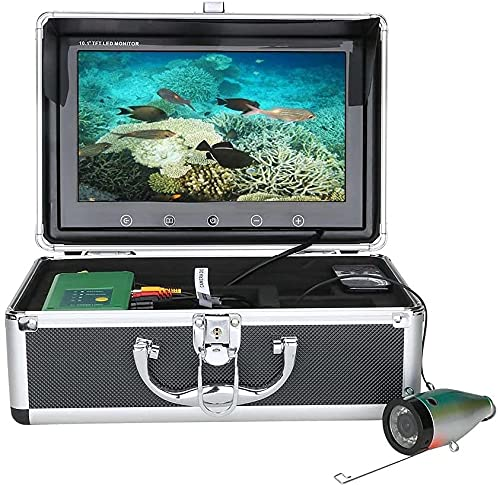 WSVULLD Finder de 10 Pulgadas Pescado Cámara de Pesca bajo el agua15PCS Lámpara infrarroja 1080p Cámara + 15pcs LED Blancos para la Pesca con Hielo, 15m (Size : 15M)