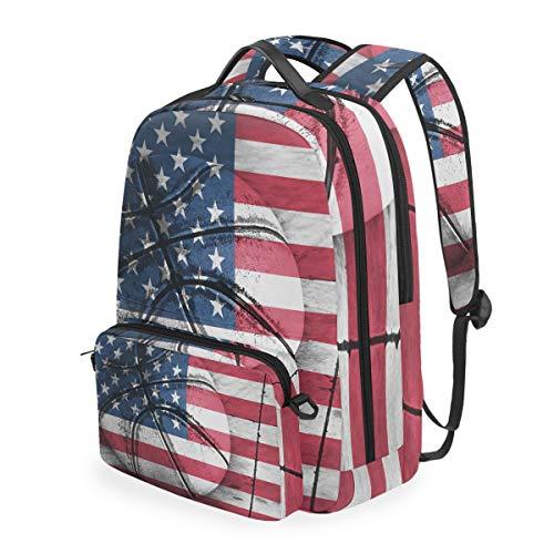 CPYang Schulrucksack Amerika-Flagge Basketball Abnehmbare Schulter Crossbody Tasche Reise Laptop Rucksack für Mädchen Jungen Frauen Männer