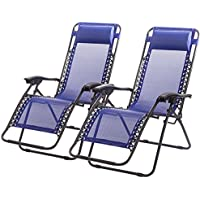 2 Set FDW Zero Gravity Recliner Outdoor Patio Chairs (Blue)
