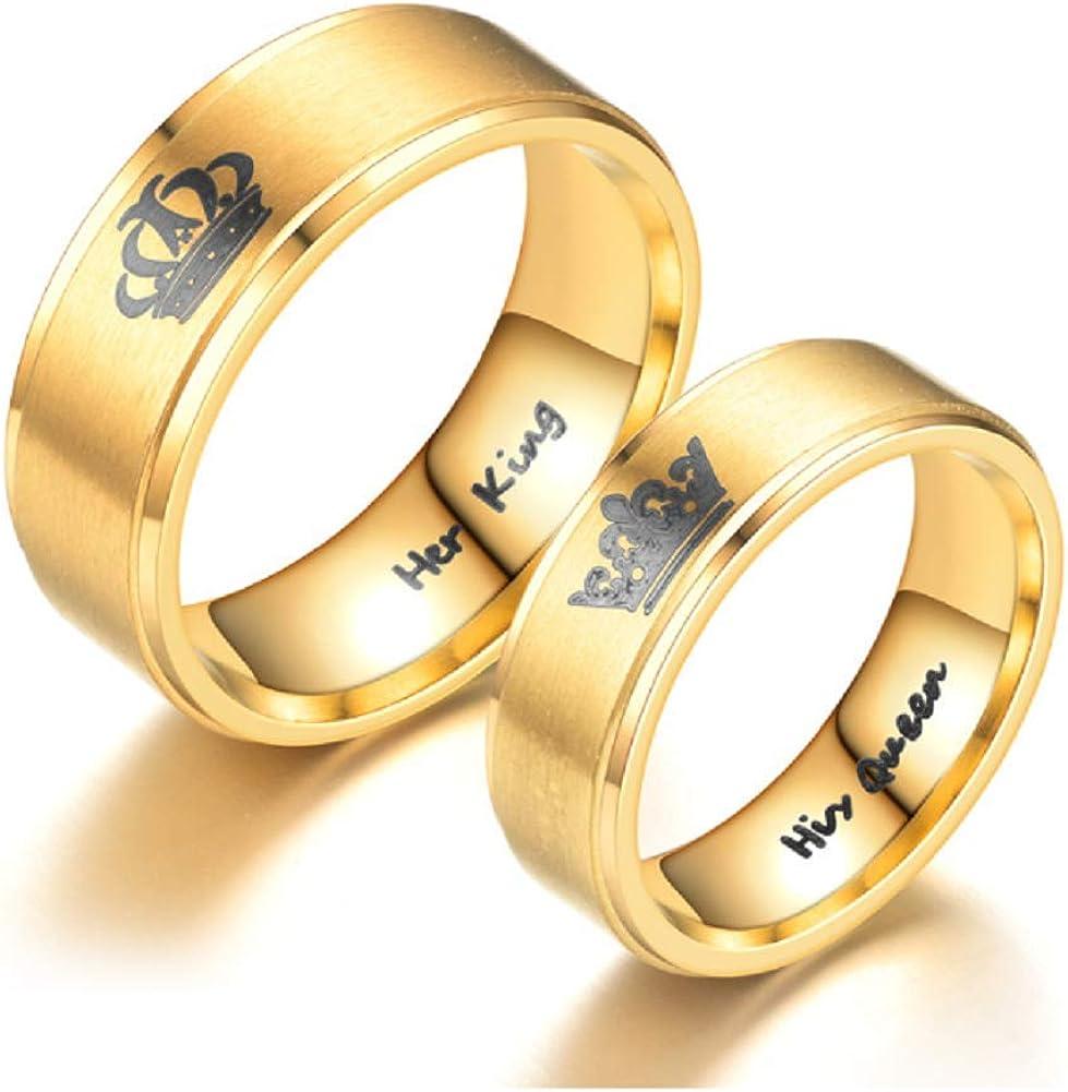 Blowin Anillo de Corona de su Rey o su Reina de Acero Inoxidable IP Dorado para Boda, Compromiso, Novia, Compromiso, Aniversario, Regalo de San Valentín: Amazon.es: Joyería