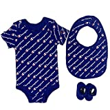 Champion Baby Infant 3-Piece Box Set Includes Body Suit, bib and Booties, All Over Script-Blue 420, 0-6M