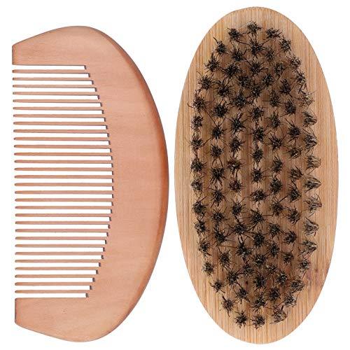 Kit de cuidado de barba para hombre, kit de cuidado de barba, cepillo ovalado para bigote y peine de masaje para barba