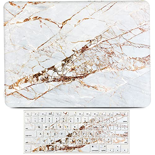 L2W Fundarígida de plástico de mármol Blanco Compatible con Macbook Air de 11 Pulgadas Modelo A1370 A1465,Funda Protectora Mate para Ordenador portátil Funda para Teclado, mármol Blanco