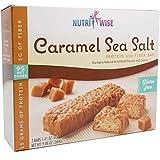 NutriWise - Divine Caramel Sea Salt Bars | 7/Box | High Protein Gluten Free, High Fiber, Low Fat, Low Carb, Low Calorie