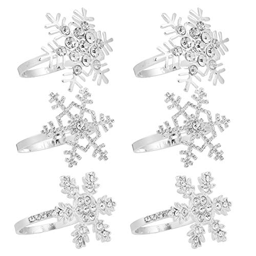 ANPHSIN Set of 6 Christmas Napkin Rings- Xmas Snowflake Napkin Holder Rings Full of Rhinestones for Christmas Holiday Party Dinner Wedding Banquet Dinning Table Settings Decoration (3 Styles)