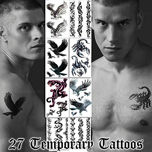 27 Temporary Tattoos Assorted Styles - Scorpions, Panther, Hawks and Arm Wire Bands - For Adults and Teens Tattoos for Arms Legs Shoulder or Back
