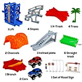 Car Track mit 2 Electric Auto Eisenbahn Autorennbahnen Montage Spielzeug Rennbahn Spiel Set für Kinder,505 CM Länge - 4