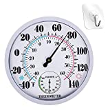Outdoor Thermometer, 10 Inches Large Numbers Wall Thermometers, Outside Temperature Thermometer and Hygrometer for Patio