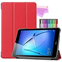 Billionn Huawei MatePad T8(kobe2-L03 / KOB2-L09)タブレット用フォリオ3つ折りスタンドスマートケース[超薄型] [超軽量]、赤