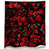 Loong Design Rose Throw Blanket Soft Fluffy Premium Sherpa Fleece Blanket 50'' x 60'' Fit for Sofa Chair Bed Office Travelling Camping Gift