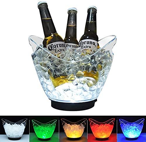 Cubo de hielo LED recargable 4 litros enfriador de botellas – Bebidas decorativas Champagne Cooler tina para bar club temático restaurante pub vino beber cerveza jugo