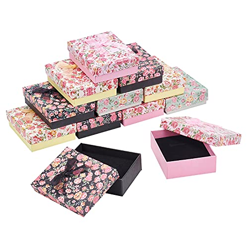 nbeads 16個セット 9x7x3cm 4色 ギフトボックス アクセサリー紙箱 アクセサリーケース リボン蝶結び付き 2スロット 長方形 指輪 ピアス リング ジュエリー収納ボックス プレゼント 包装 贈り物