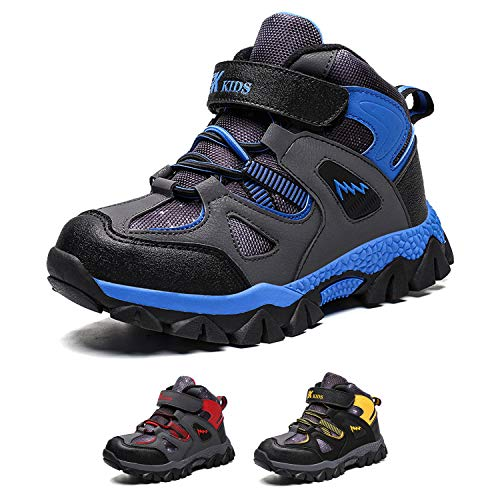 Bandkos Winterschuhe Jungen Wanderstiefel Kinder Warm Gefütterte Wanderschuhe Trekkingschuhe Outdoor Stiefel Schnee Camping rutschfest Schuhe Schwarz Blau Gr.32-41EU,BL-40