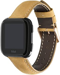 CHIMAERA Replacement Bands for Fitbit Versa Edition, Crazy Horse Leather Band Replacement Strap for Fitbit Versa Fitness Smart Watch