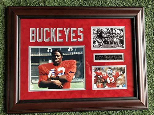 John Brockington #42 Signed Custom Framed Ohio State Buckeyes Photo w/Additional Unsigned Photos & Metal Plate (CSD COA)