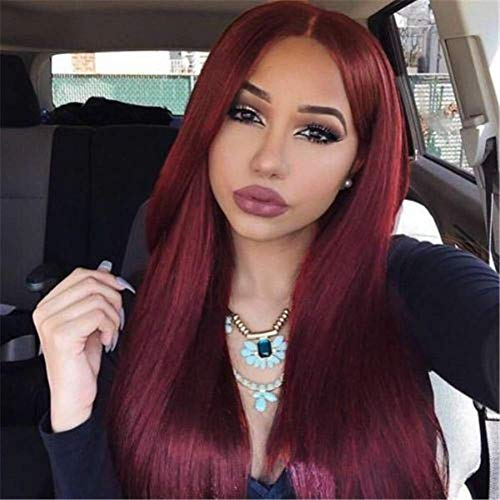 Elesty Wine Red Synthetic Lace Front Wigs Burgundy Synthetic Wigs for Women Long Straight Lace Wig Heat Resistant 24 Inch