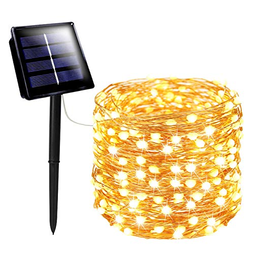 SANJICHA Solar String Lights Outdoor, Upgraded Super Bright 72FT 200LED Solar Lights Outdoor, Waterproof Copper Wire 8 Modes Fairy Lights for Party Decorations Garden Patio Home Decor (Warm White)
