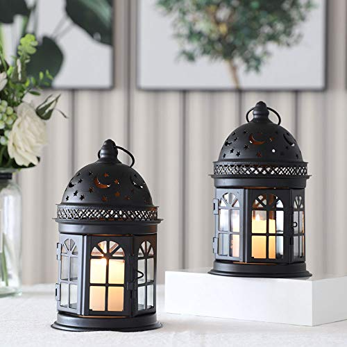 JHY DESIGN Set mit 2 dekorativen Laternen - 21 cm hohe Hängelaterne im Vintage-Stil, Metallkerzenhalter für Veranstaltungen im Freien, Paritäten und Hochzeiten (schwarz)