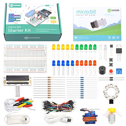 Elecfreaks microbit Starter Kit for Kid 24 Accessories Micro:bit Basic Coding Electronics Kit, STEM Educational DIY Experiment Kit, Electric Circuit Learning with Guidance Manual(Without Micro: bit)