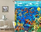 N/X Cortina de ducha Cortina de baño Ocean Ducha Cortinas 180 x 180 cm impermeable cuarto de baño hogar lavable tela cortina de baño 12 ganchos 90 x 180 cm tp330
