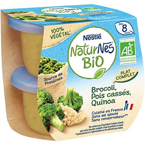 NESTLE NATURNES BIO Petits Pots Bébé Brocoli, Pois Cassés, Quinoa Bio - 2x190g - Dès 8 mois