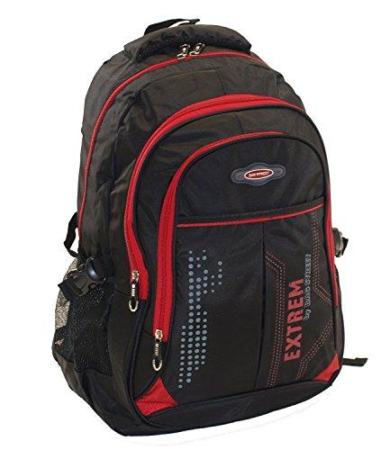 großer Herren - Rucksack Schultasche Freizeittasche Markentasche Bag Street Arbeitstasche (Schwarz-Rot)