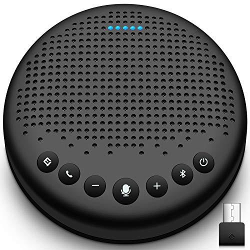 eMeet Bluetooth Konferenzlautsprecher - USB Freisprecheinrichtung für 5-10 Personen, Speakerphone 360° Spracherkennung, mit Dongle, für Zoom, Skype, VoIP-Kommunikation PC, Skype for Business usw.
